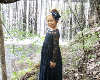 Ready to Ship- Long Sleeve Navy Lace Sweetheart Dress- Flower Girl, Wedding, Girl, Toddler, vintage, rustic dress, fall, winter, blue