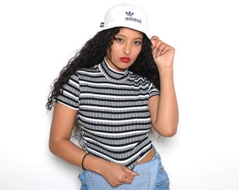 Vintage 90's Striped & Ribbed CropTop Sz S