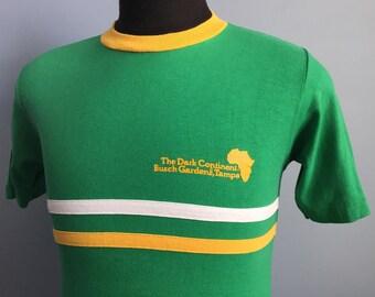 80s Vintage Busch Gardens Loch The Dark Continent Tampa rollercoaster amusement park ringer T-Shirt - SMALL