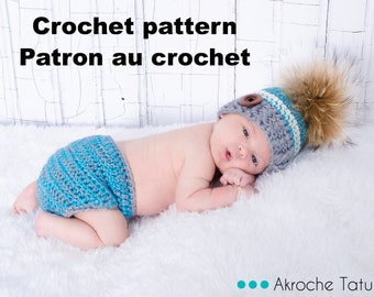 Pattern only! Serenity Kit for baby crochet pattern by Akroche Tatuk (english and french).