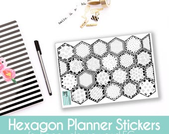 Planner Stickers - 22 Black & White modern patterned hexagon for MAMBI Happy Planners or Erin Condren Life Planner