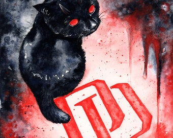 Daredevil Kitten: Fine Art Watercolour Black Cat Marvel Print