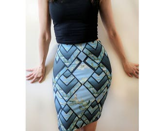 Blue Blossom Fitted pencil Skirt