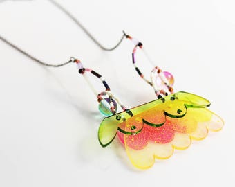 playfull fluorescent necklace, plexiglas + tiny beads +glass beads, fairy flower creature, fashion statement jewelry, hand painted