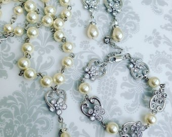 Bridal Jewelry Set, Wedding Jewelry Set, Bridal Pearl Jewelry Set, Bridal Pearl Necklace Earrings, Bridal Pearl Bracelet, Vintage Inspired
