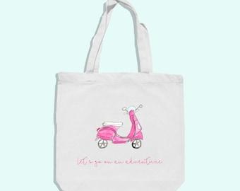 vespa scooter tote bag - vespa bag - vintage vespa bag  - pink vespa bag - summer tote bag - summer vespa bag - cotton beach bag