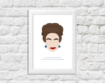 joan crawford wall art - joan crawford art - joan crawford illustration - mommie dearest artwork - don't fuck with me fellas