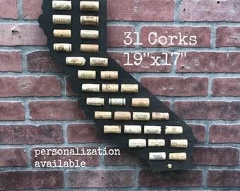 California Wine Cork Map,Wine Cork Display,Wine Cork Holder,Wine Cork Collector,Wine Cork Art,Wine Cork Home Decor,Wine Gift, Wine Cork Sign