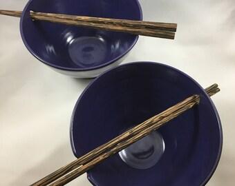 Pottery Bowls, Ceramic Bowls, Sushi Bowls, Noodle Bowls, Rice Bowls, Sushi for 2, Blue Bowls, Pottery Bowl Gift, Serving Dishes