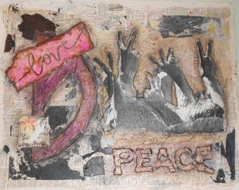 Mixed Media Collage on Canvas ~ Peaceful Protest