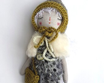 Drawsy Doll, Rag Doll, White Hair Doll, Handmade Doll, Best Friend For Girl, OOAK Doll, Cloth Art Doll, Heirloom Doll