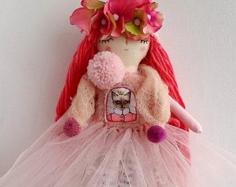 Princess Doll,  Spring Doll, Dress Up Doll, Rag Doll, OOAK Doll, Cloth Art Doll, Heirloom Doll, Light Pink Tulle Tutu, Gift for Girls