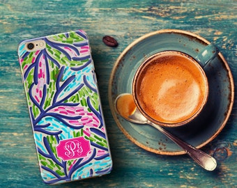Birthday present for women, Preppy Iphone 6s case clear, Iphone 6 plus case clear with design, Unique monogram Personalized gift (1641)