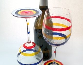 Hand-Painted Wine Glass Set - Primary - Two 19.9 oz Wine Glasses Painted With Translucent Red, Yellow, Blue and Frosted Stripes