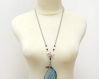 Ocean Inspired Large Blue Agate Stone Slice Long Necklace with Dolphin Tail Charm