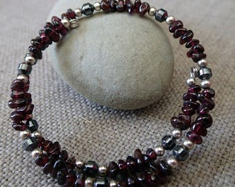 Garnet and Hematite memory wire wrap bead bracelet