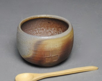 Clay Salt Cellar Bowl Wood Fired  with Wood Spoon F76