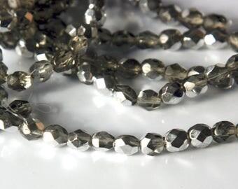 Czech glass x 50, Smoky-grey Silver AB, 6mm round , fire polished beads