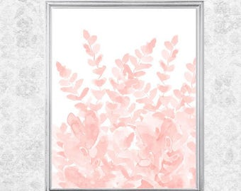 Pale Pink Fern Print, Fern Garden, 8x10 Watercolor Fern Print, Petal Pink Art, Petal Pink Wall Decor, Blush Flower Painting, Blush Wall Art