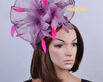 LT purple hot pinkLarge feather fascinator sinamay fascinator formal hat kentucky derby hat wedding hat.