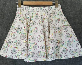 Springtime BIKE print twirly skirt  / Girls size 6/8 * Bicycle print clothing for children * Bike skirt for girls
