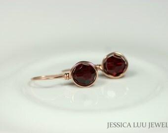 Rose Gold Garnet Earrings Swarovski Crystal Earrings Wire Wrapped Jewelry Dark Red Earrings Swarovski Jewelry Rose Gold Jewelry Handmade