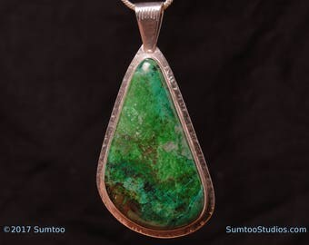 Parrot Wing Chrysocolla In Argentium Sterling Silver Pendant
