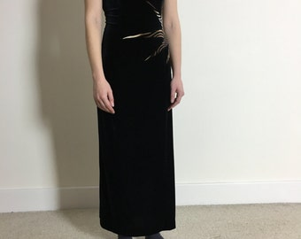 Vintage 1980s Starburst Joseph RibKoff Black Velvet Maxi Dress with Psychedelic Star Super Flattering Made in Canada