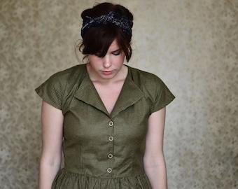 SuperMarket Dress / Day Dress / 1950's dress /  Summer Dress / Retro Dress / Vintage Dress / Long Dress / Green Dress / Short Sleeve Dress