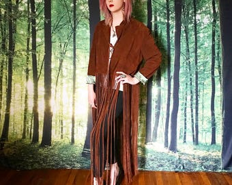 1970s Extra Long Floor Length Fringe Leather Duster Jacket