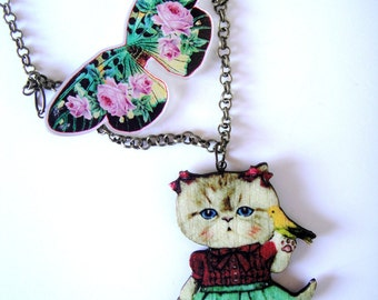 cat jewellery, cat lover gift, bohemian jewelry, cat gift, cat jewelry, cat necklace, cat pendant, butterfly jewelry, buttefly necklace