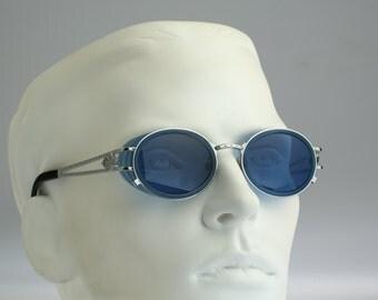 Jean Paul Gaultier 58-6202 / 90s Vintage sunglasses / NOS /  Side shields steampunk round eyewear