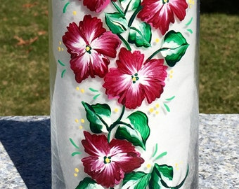 Vase Hand Painted With Red and White Flowers, Birthday Gift, Home Decor, Bridal Shower Gift, Gifts For Her, Housewarming Gift, Vase