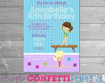 Gymnastics Birthday Invitation, Gymnastics Invitation, Gymnastics Party, Gymnastics Invite, Gymnastics Theme, Gym Invitation, Printable, Gym