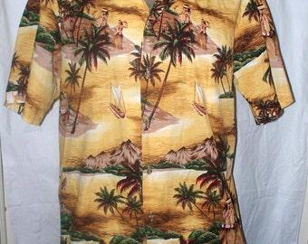 Hawaiian Shirt - Mens Hawaiian Shirt - Vintage - Size L - 100% Cotton