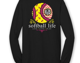 OFFICIAL TM SOFTBALL Life Custom Monogram Long Sleeve T-Shirt Softball Shirt