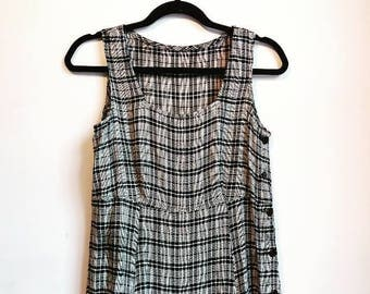 Plaid Smock Dress Vintage Black White Tartan Dress Monochrome Checkered Sleeveless Ankle-Length Oversize Grunge Summer Dress Retro Women's