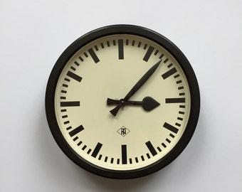 """11.8"""" Diameter Vintage German Industrial wall clock from TN. 1960s. Black Rim. Made in Germany. 2017-004"""