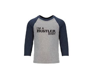 I'm a Hustler Baby Print Personalized Youth Raglan Color Block Tee Baseball Shirt Baby Annoucement