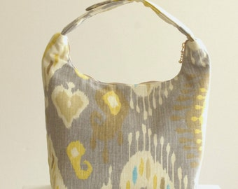 Insulated Lunch Bag, Women Lunch Bag, Top Handle Bag,Fabric Small Purse, Insulated Work Lunch Bag,Reusable Lunch Tote,Yellow Gray Ikat Print