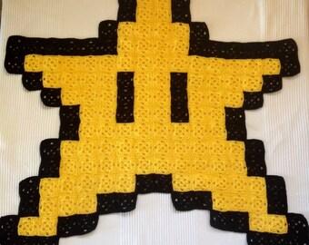Super Mario Star 8-bit Crochet Blanket