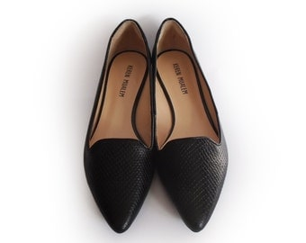 Black flat shoes sale, Boat shoes with black snake leather, Ballerina shoes, Women shoes, Leather shoes, Designer shoes, Retro shoes