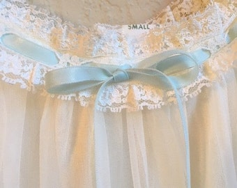 Vintage White Night Gown With Pale Blue Ribbon And Lace By Al Sterling Lisette