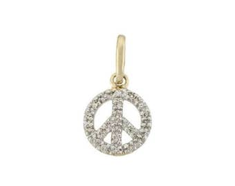 14k Diamond Peace Sign Charm, 14k Diamond Peace Sign Pendant