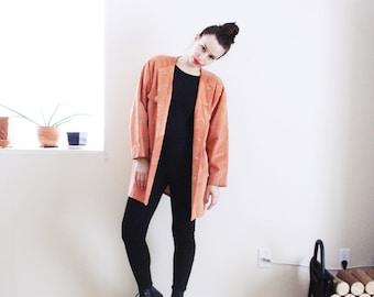 Salmon Suede Jacket . 1980s Suede jacket Fall jacket Suede Coat Genuine Leather jacket leather coat Pink jacket pink suede jacket pink coat