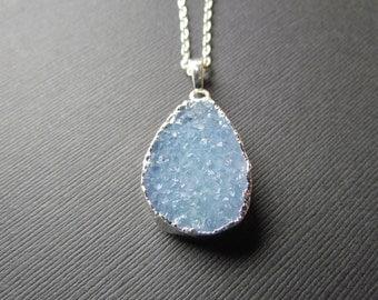 Blue Quartz Necklace - Baby Blue Pendant - Blue Jewelry - Sterling Silver Pendant