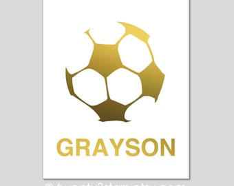 Soccer Ball Real Gold or Silver Foil Art Print, Unframed, Custom Colors, real gold foil, silver foil