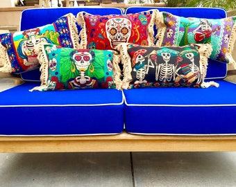 Day of The Dead Pillows / Frida Kahlo / Mermaid Pillow / Mexican Blanket Pillow / Throw Pillows / Sea Gypsy / Cotton Pillows / Home Decor