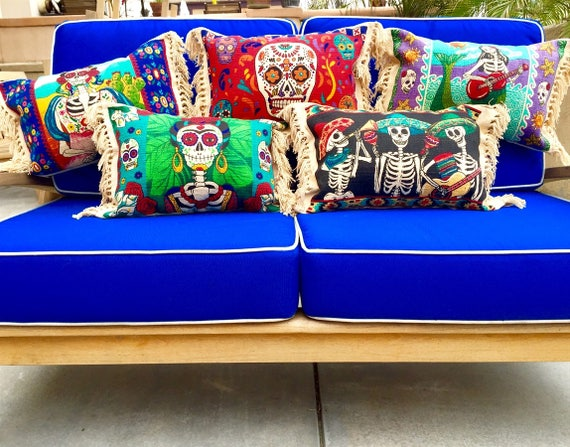 Day of The Dead Pillows / Frida Kahlo / Mermaid Pillow / Mexican Blanket Pillow / Throw Pillows / Sea Gypsy / Cotton Pillows / Home Decor