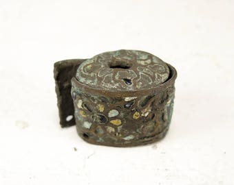 Antique Brass Enameled Finding - Archaeological Finds - a137